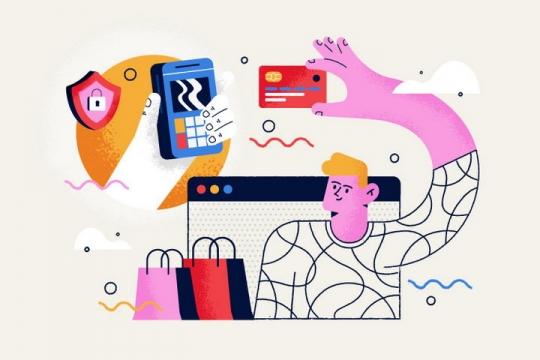 扁平插画风风格正在手机支付的年轻人图片免抠矢量图素材