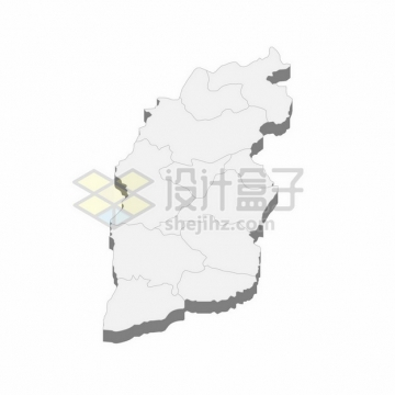 山西省地图3D立体阴影行政划分地图697871png矢量图片素材