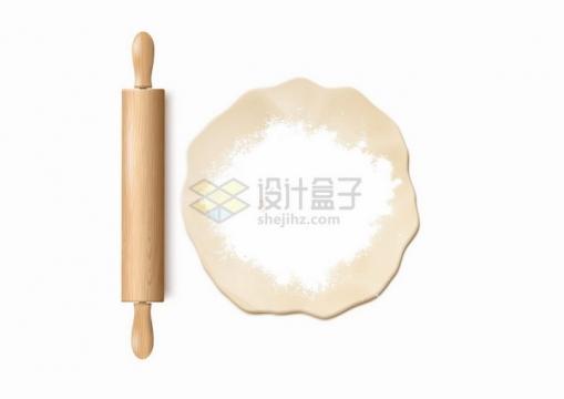 木制擀面杖和撒了面粉的面团厨房用品png图片免抠矢量素材