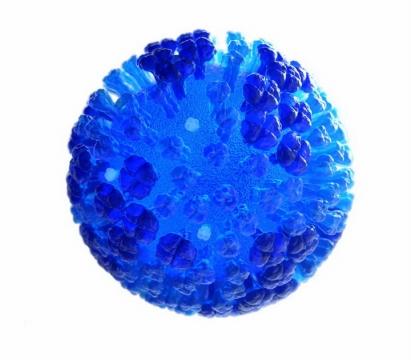 蓝色的流感病毒3D图像png图片免抠素材