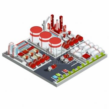 2.5D风格炼油厂大量的储油罐工厂建筑png图片素材