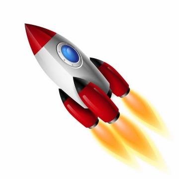 装了三台推进器的卡通小火箭png图片免抠eps矢量素材