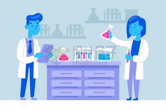 卡通蓝脸科学家正在用试管锥形瓶等化学实验仪器做实验png图片免抠矢量素材