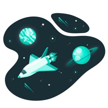 插画风格航天飞机外星球宇宙探索图片免抠矢量图素材
