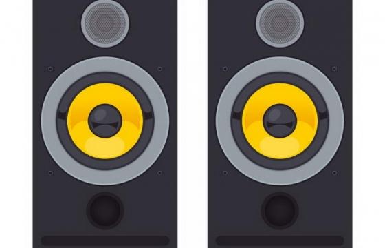 逼真的橙色和黑色组成的音响喇叭正面图免抠矢量图片素材