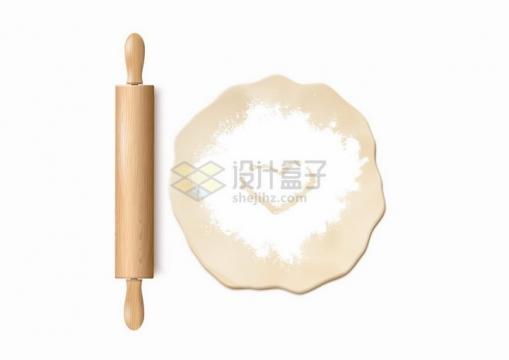 木制擀面杖和撒了面粉画了心形的面团厨房用品png图片免抠矢量素材