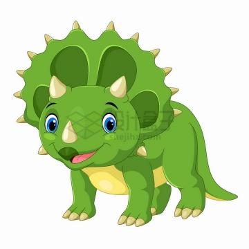 绿色三角龙恐龙可爱卡通动物png图片免抠矢量素材