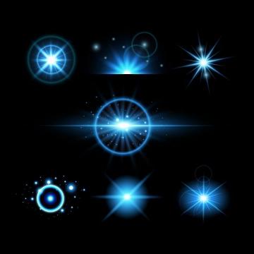 7款淡蓝色星光光晕发光效果免抠图片素材