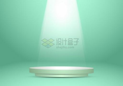 灯光照射下的圆形展台舞台绿色背景图png图片免抠矢量素材