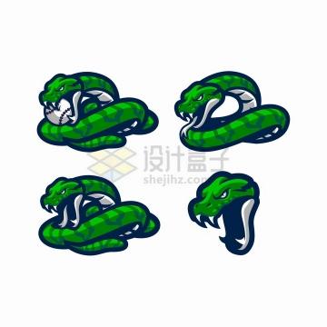 4款绿色的毒蛇logo设计png图片免抠矢量素材