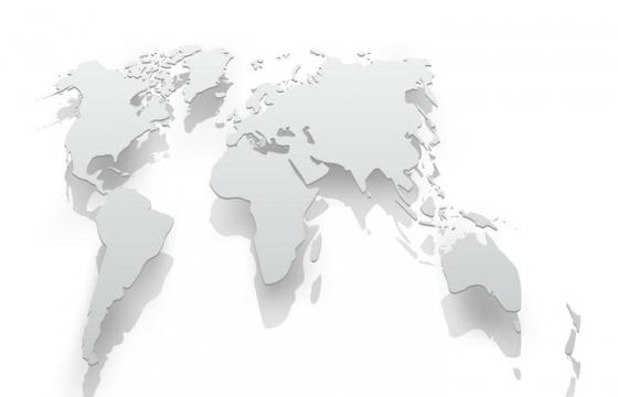 拉长的世界地图悬空阴影效果图片免抠矢量素材