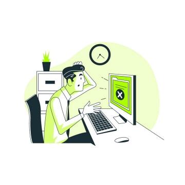 绿色卡通风格用电脑遇到错误的程序员图片免抠矢量图素材