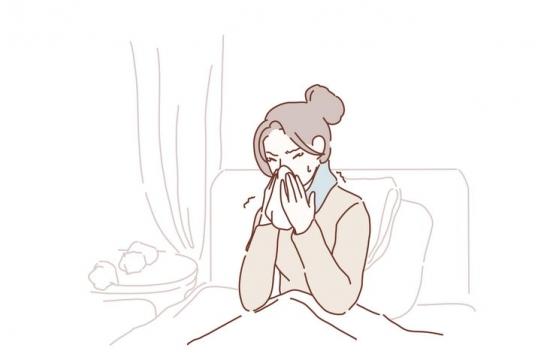 打喷嚏流鼻涕感冒的女孩手绘插画图片免抠素材