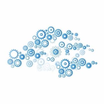 很多蓝色齿轮聚合在一起png图片免抠矢量素材