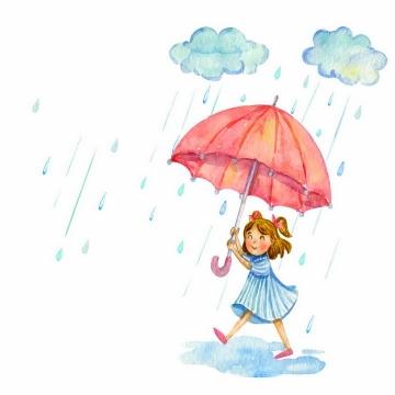 彩绘风格乌云正在下雨和打伞的小女孩png图片免抠eps矢量素材