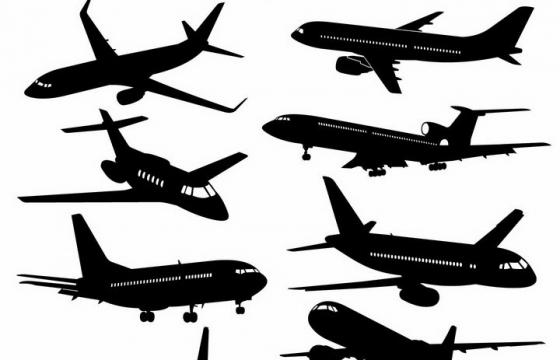 11款透着窗户的大型客机飞机剪影png图片免抠矢量素材