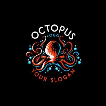 抽象冒泡的章鱼logo设计png图片免抠矢量素材