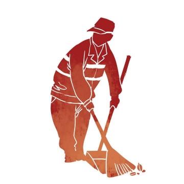 五一劳动节清洁工劳动人民剪影图片免抠素材