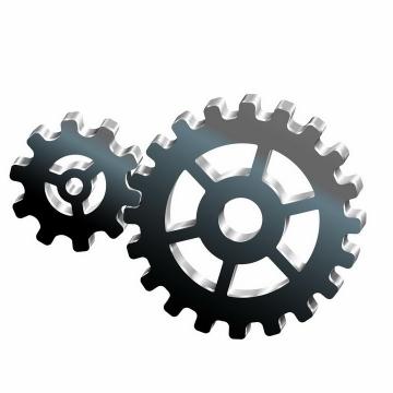 3D立体风格两个金属光泽的齿轮png图片免抠矢量素材