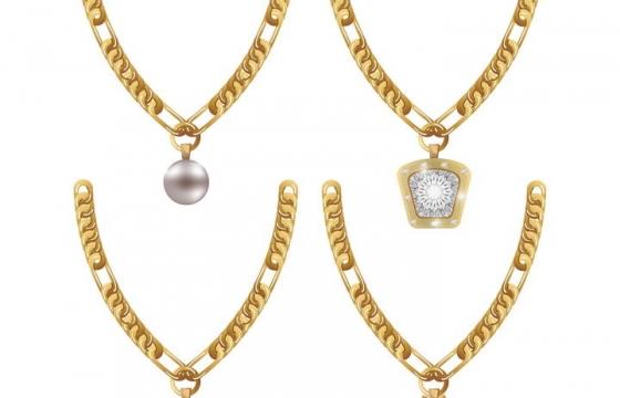 四款镶着宝石的金项链图片免抠素材