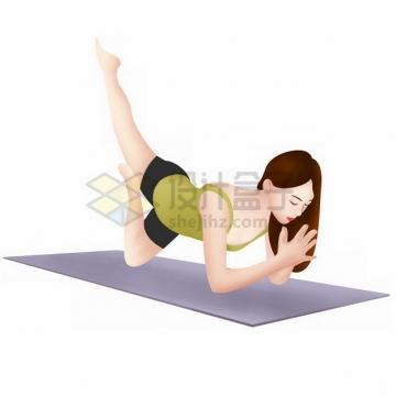 在瑜伽垫上练瑜伽的美女png免抠图片素材