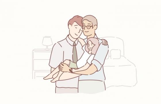 三世同堂爷爷爸爸和女儿手绘插画图片免抠素材