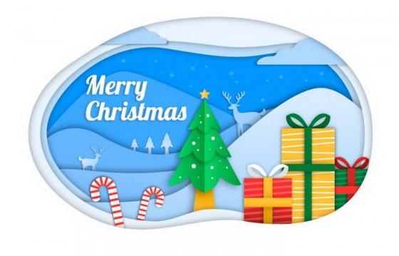 剪纸叠加风格圣诞节快乐圣诞树和圣诞礼物免抠图片素材