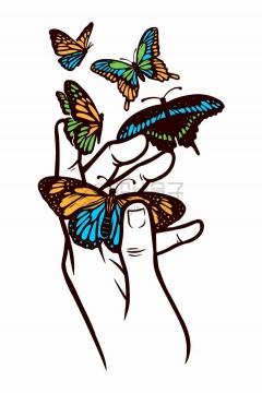 抽象手上抓着的蝴蝶手绘插画png图片免抠矢量素材