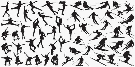 各种各样的滑雪溜冰冰上芭蕾舞滑板剪影图片免抠矢量素材