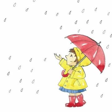 手绘卡通黄衣女孩打着雨伞在查看下雨的情况png图片免抠eps矢量素材