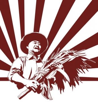 五一劳动节收获稻谷的农民劳动人民剪影辐射条背景图片免抠素材