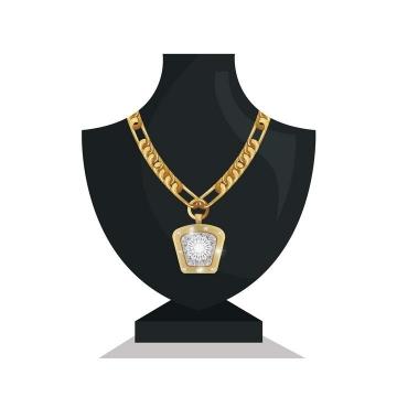 黑色模型上镶着宝石的金项链图片免抠素材