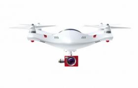 一架白色的四轴无人机飞行器带摄像头的遥控飞机png图片免抠矢量素材