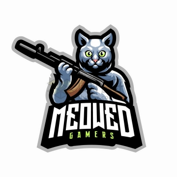 手持步枪的喵星人游戏logo设计png图片免抠矢量素材