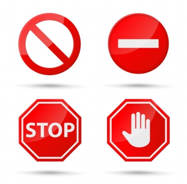 4款红色禁止提示牌警告标志警示标牌图片免抠矢量素材