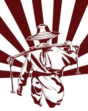 五一劳动节挑扁担的农民劳动人民剪影辐射条背景图片免抠素材