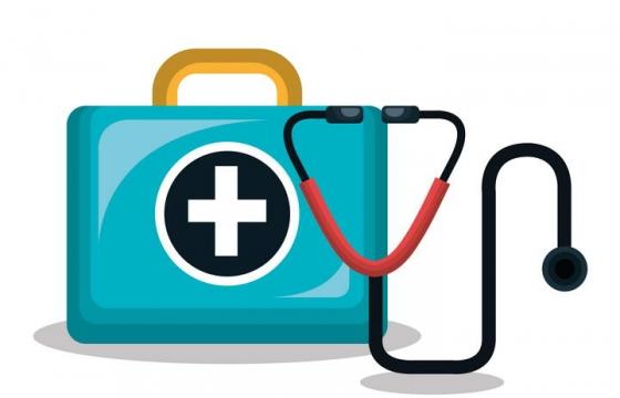 扁平化风格医药包听诊器医疗配图图片免抠素材