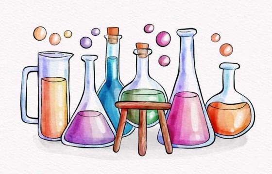 手绘风格化学试验仪器烧瓶烧杯免抠矢量图片素材