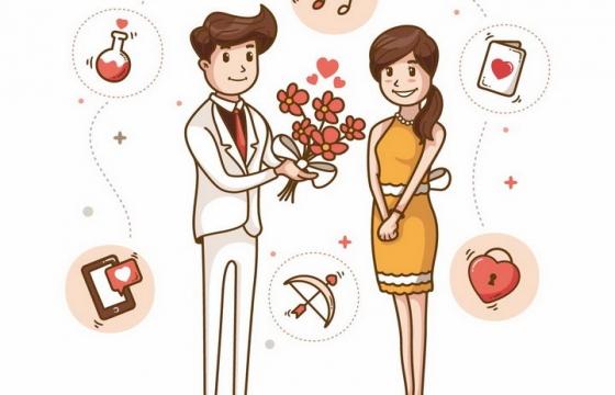 卡通风格送花给女友的男孩子png图片免抠矢量素材
