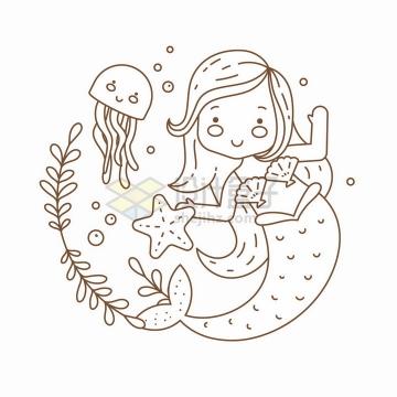 和海星水母玩耍的卡通美人鱼简笔画儿童插画png图片免抠矢量素材