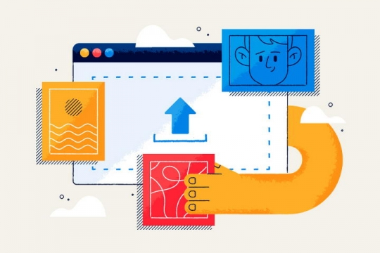 扁平插画风格正在电脑上上传图片文件的操作图片免抠矢量图素材