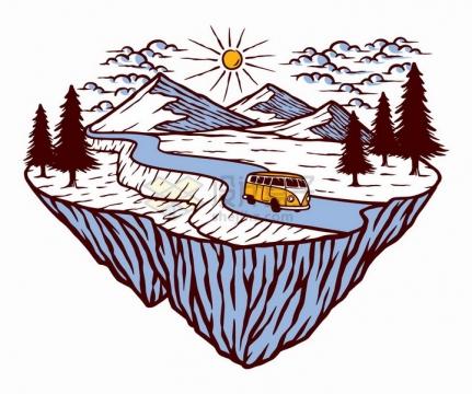 抽象悬空岛上的高山公路和森林手绘插画png图片免抠矢量素材