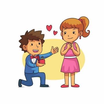单膝下跪向女友求婚送结婚戒指的卡通男孩png图片免抠矢量素材