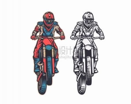 彩色和黑白风格的越野摩托车正面图手绘漫画插画png图片素材