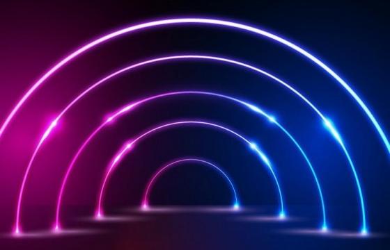 唯美风格半圆形的发光线条背景图免抠图片素材
