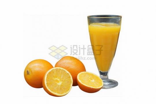 切开的橙子和一杯橙汁果汁png免抠图片素材