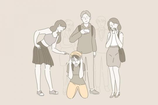 杜绝校园暴力欺凌霸凌手绘插画图片免抠素材