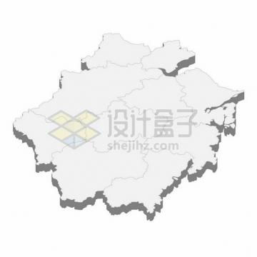 浙江省地图3D立体阴影行政划分地图250254png矢量图片素材