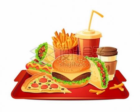 红色餐盘上的汉堡可乐咖啡塔可热狗披萨薯条等肯德基麦当劳快餐png图片素材
