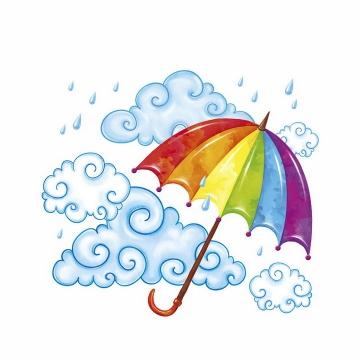 淡蓝色的乌云祥云图案和七彩雨伞花伞png图片免抠eps矢量素材
